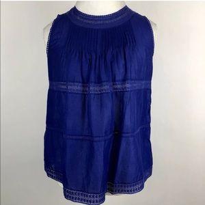 Madewell Sleeveless Crochet Pleated Blouse Blue S